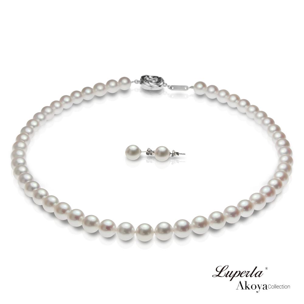 大東山珠寶 日本Akoya海水珍珠系列項鍊耳環套組- 純潔與永恆8-8.5mm