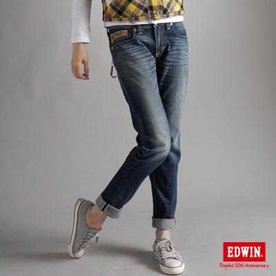 EDWIN-提花迷情-BT皮繩串珠修身窄牛仔褲-女款-原藍磨