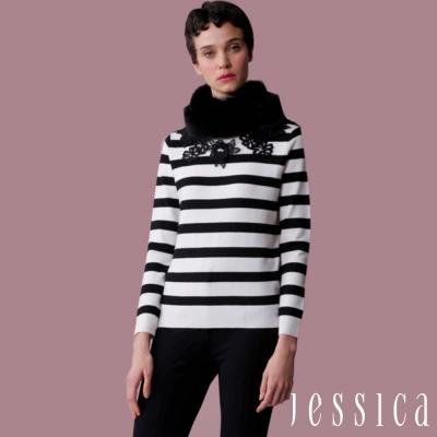 JESSICA-優雅花朵條紋針織上衣