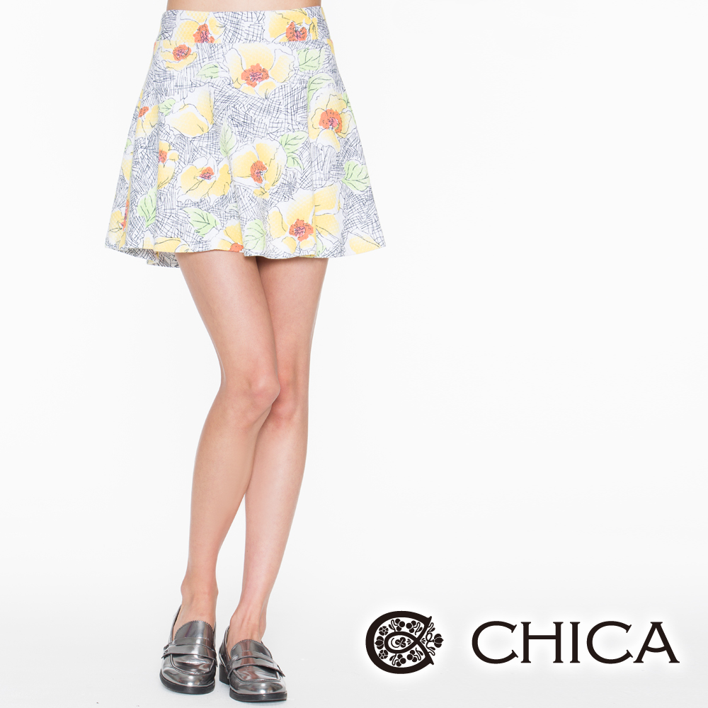 CHICA 墨水筆畫花朵短裙(2色)