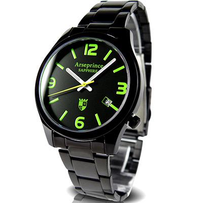 Arseprince 迷戀風情中性錶-黑x綠時標/32mm