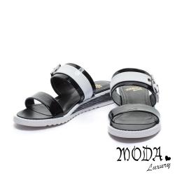 拖鞋 MODA Luxury 前衛鏡面撞色平行繫帶厚底拖鞋-黑