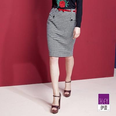 ILEY伊蕾-千鳥格窄版裙-黑