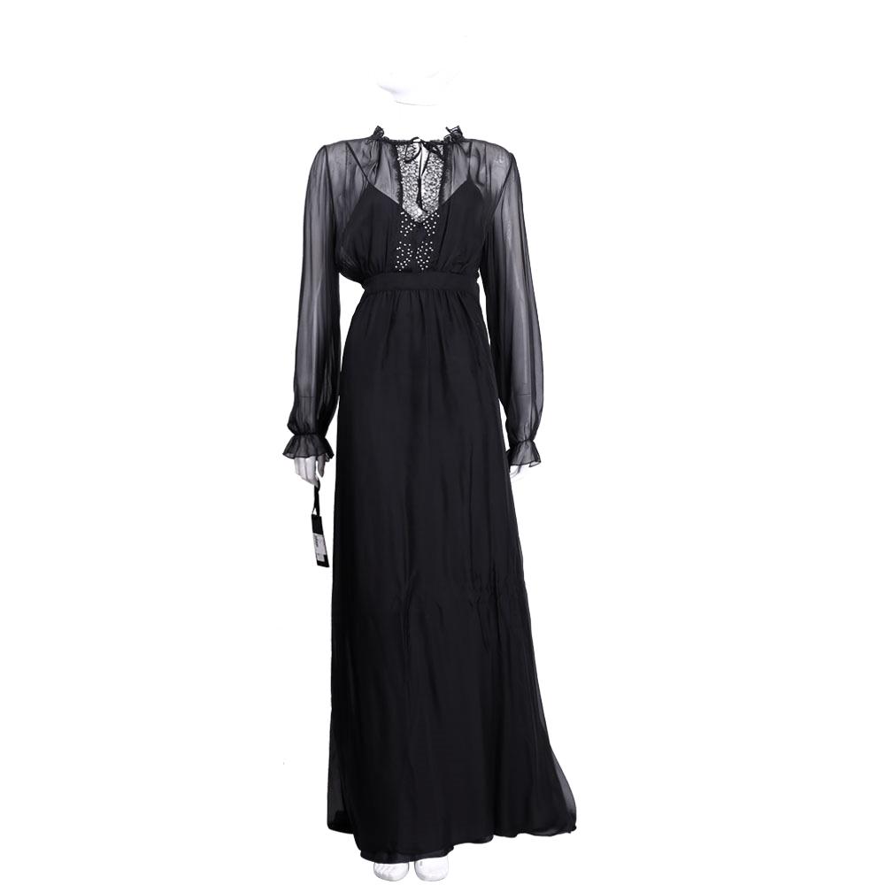 PINKO 黑色蕾絲拼接紗質長版洋裝(附內襯)