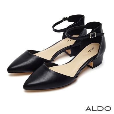 ALDO 原色尖頭佐金屬釦帶繫踝粗跟鞋~尊爵黑色
