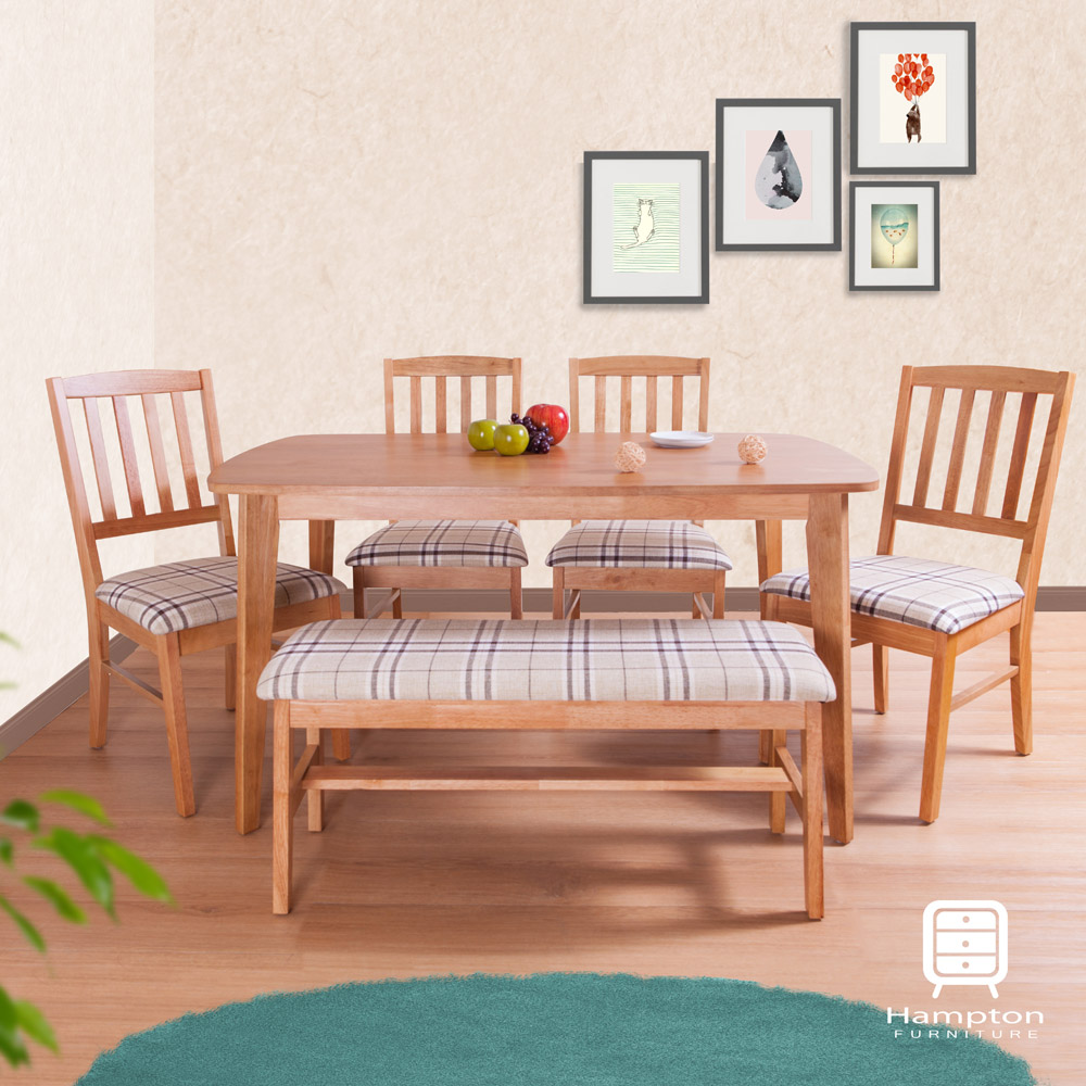 漢妮Hampton維恩餐桌椅組-一桌四椅一長凳(橡木色-布格白)130x80x72cm