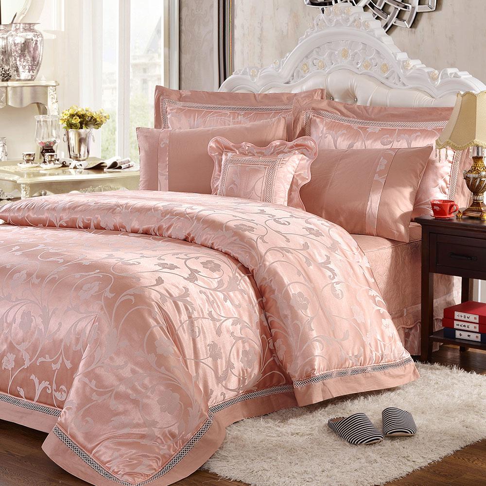 HOYACASA唯美愛戀 雙人八件式絲光棉緹花蕾絲兩用被床罩組