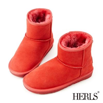 HERLS 全真皮 舒適毛絨短筒雪靴-玫紅色
