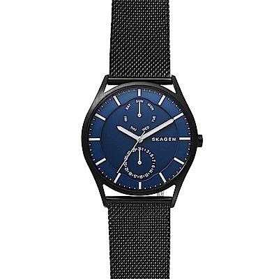 SKAGEN Holst 城市日曆時尚米蘭帶男錶-藍x鍍黑/40mm