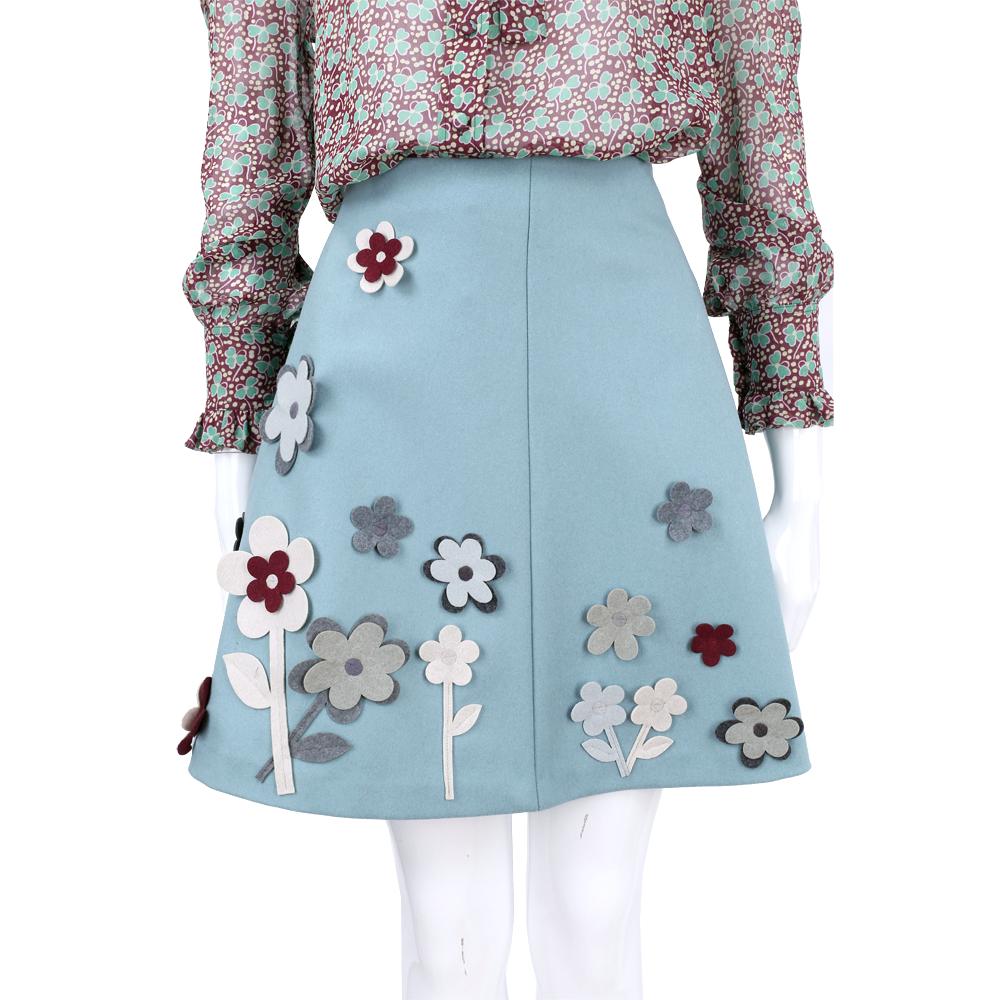 RED VALENTINO 灰藍色立體花朵拼貼羊毛及膝裙