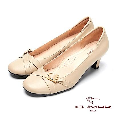 CUMAR甜美小資-舒適寬楦真皮上班鞋-卡其色