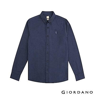 GIORDANO 男裝刺繡牛津紡襯衫-82 海軍藍