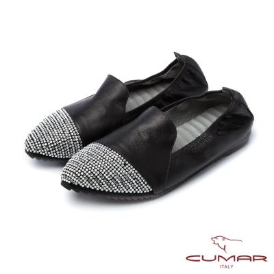 CUMAR慵懶主義鞋頭拼接異材質貼鑽樂福休閒鞋黑