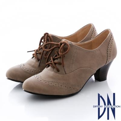 DN 英倫魅力 MIT雕花綁帶牛津粗跟鞋-咖