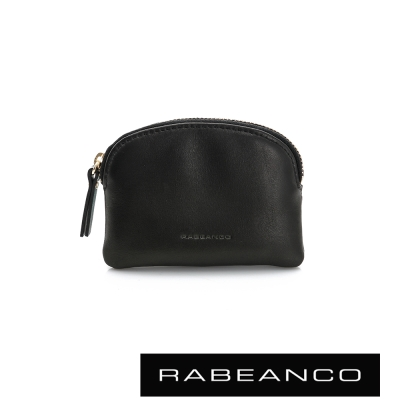 RABEANCO-迷色彩牛皮系列拉鍊零錢包-黑