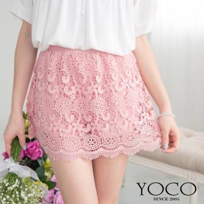 東京著衣-yoco 純色鏤空蕾絲褲裙(共二色)