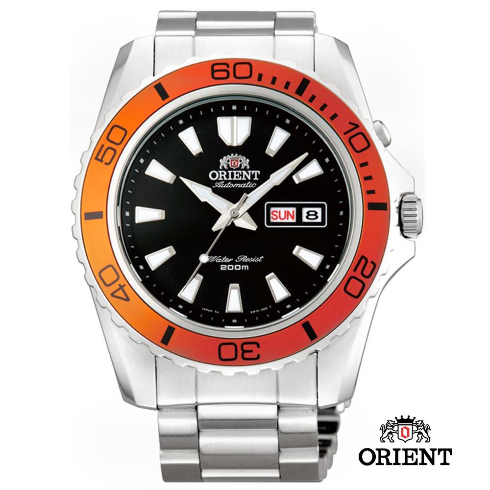 ORIENT 東方錶 200m潛水錶-橘黑色/44.5mm