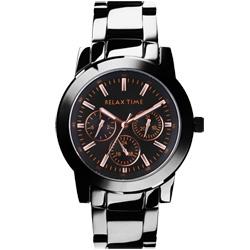 RELAX TIME 經典全日曆時尚腕錶-IP黑x玫瑰金時標/42mm