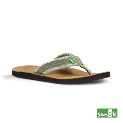 SANUK 麂皮仿舊帆布人字拖鞋-男款(橄欖綠)