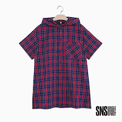 SNS 復古校園連帽經典格紋襯衫(2色)
