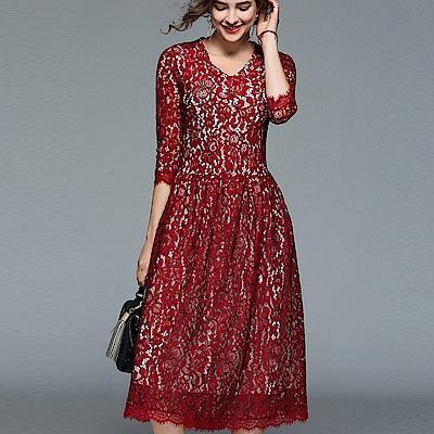 ABELLA 艾貝拉 中袖黑線鉤花蕾絲中長擺裙收腰洋裝(二色/S-2XL)