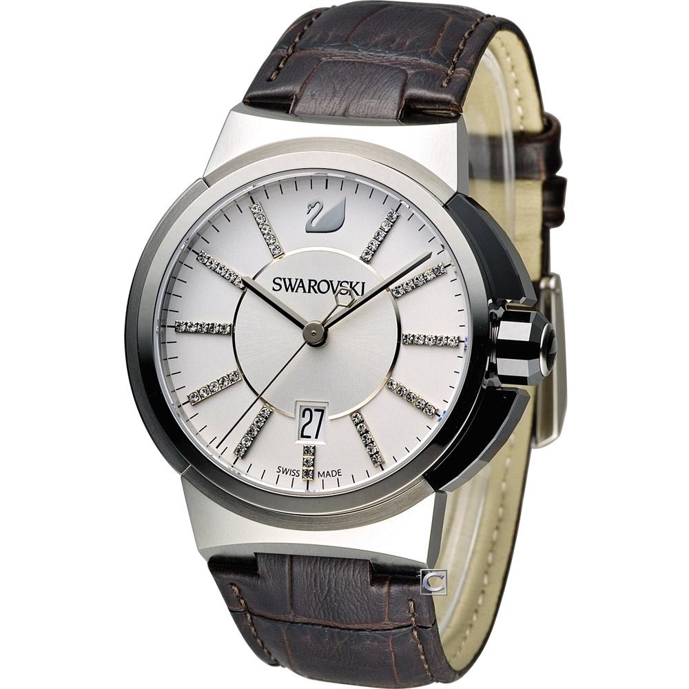 Swarovski Piazza Grande 摩登帥氣時尚腕錶-白x咖啡色錶帶/42mm