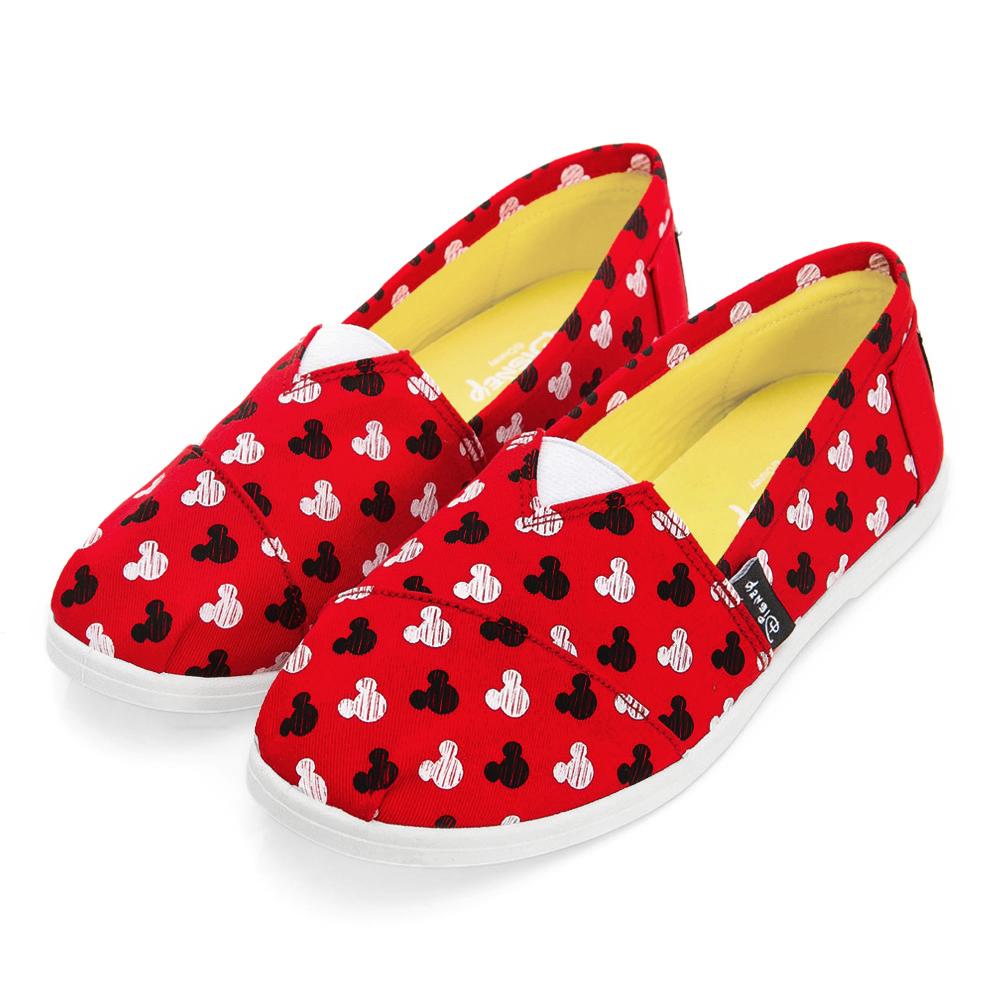 DISNEY 可愛滿點 滿版米奇印刷懶人鞋-紅(女)