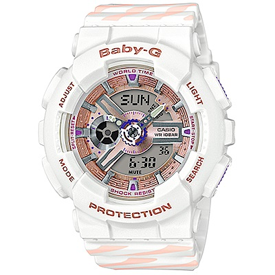 Baby-G Chance系列線條彩繪運動錶(BA-110CH-7A)白/43.4mm
