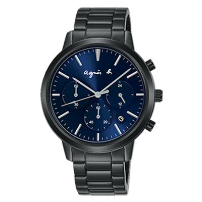 agnes b. 法國時尚三眼計時腕錶(BT3038X1)x藍x40mm
