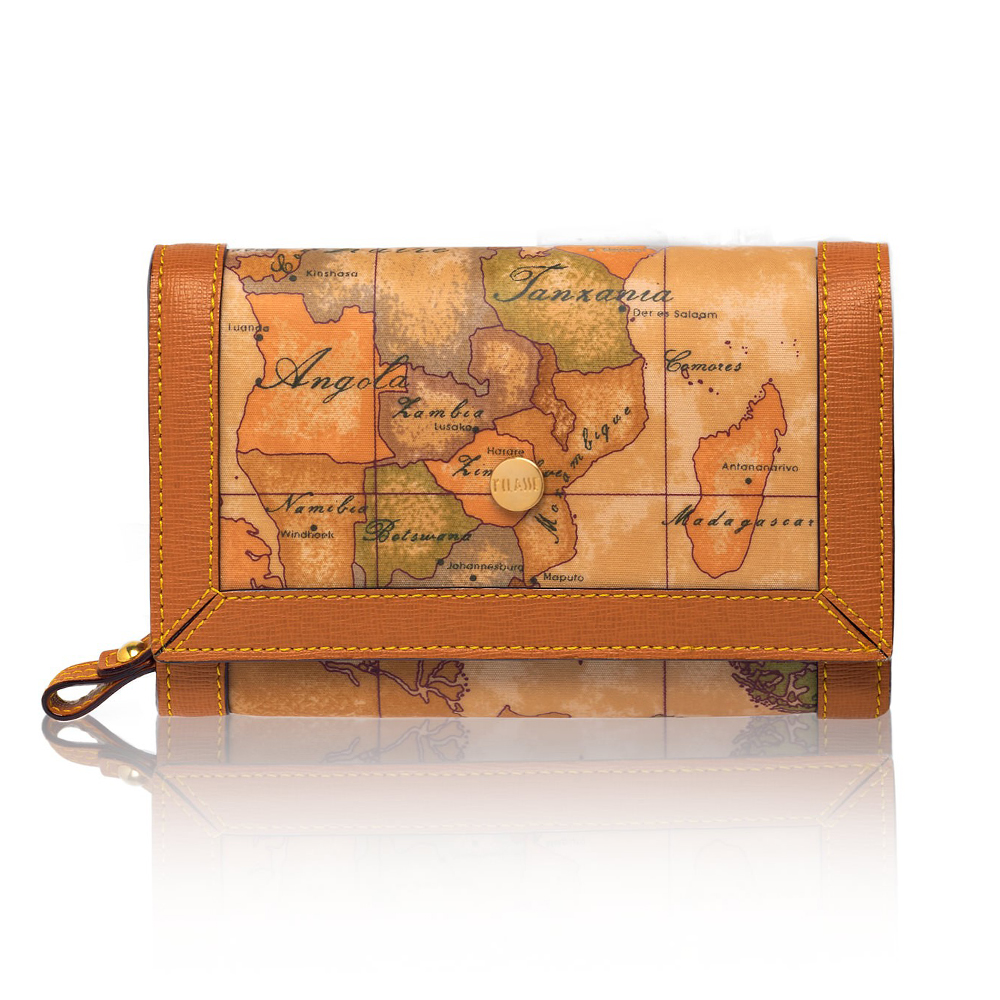 Alviero Martini 義大利地圖包 扣式8卡拉鍊零錢中短夾 地圖黃
