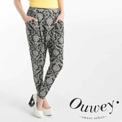 OUWEY歐薇-巴洛克圖紋柔軟哈倫褲