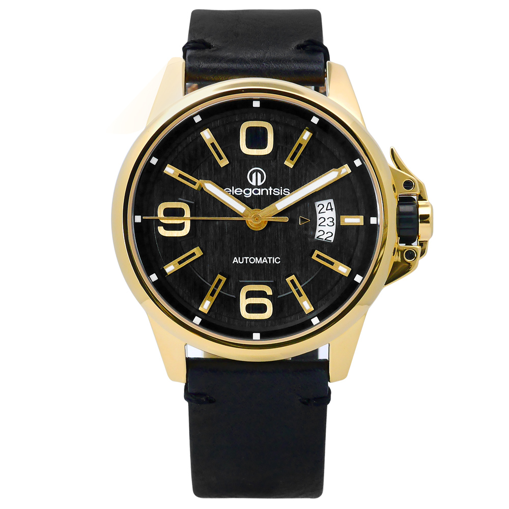 elegantsis 品味強勢回歸機械真皮手錶-黑x金框/44mm