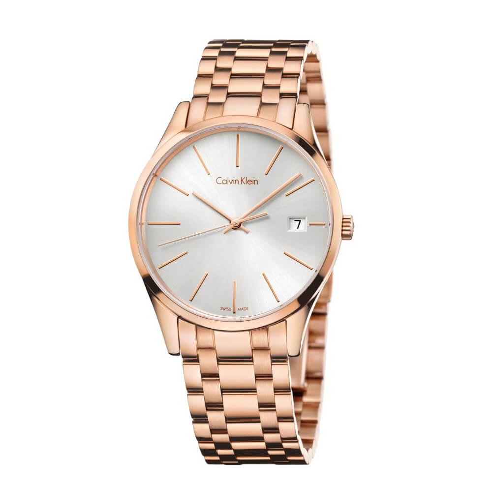 CK ALVIN KLEIN Time 時光系列時尚銀色面盤鍍PVD玫瑰金手錶-36mm