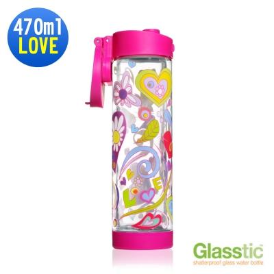 美國Glasstic安全防護玻璃運動水瓶限量設計款470ml-掀蓋式-LOVE