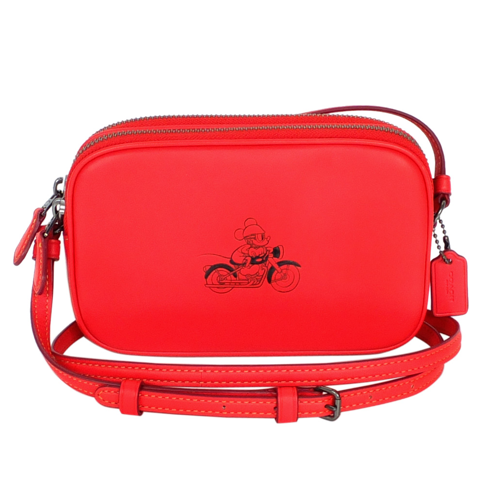 COACH迪士尼聯名款紅色全皮打檔車米奇雙層斜背小包