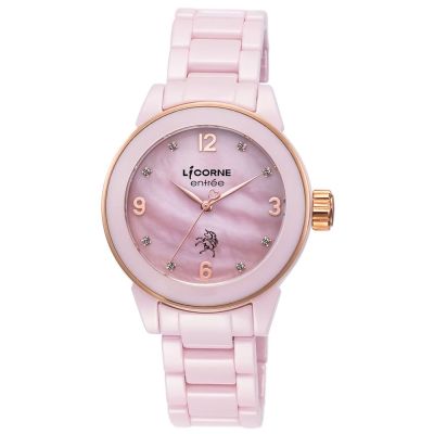 LICORNE力抗錶 晶鑽 簡約陶瓷手錶 粉玫金x粉 40mm