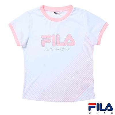 FILA KIDS 女童吸濕排汗上衣-白 5TES-4326-WT