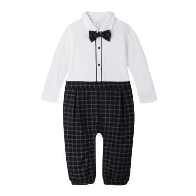 baby童衣 連身衣 假兩件紳士領結格紋褲爬服 60305