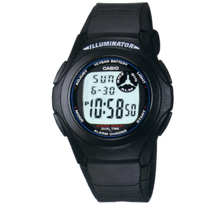 CASIO 超強10年電力數位錶(F-200W-1A)-黑色白字
