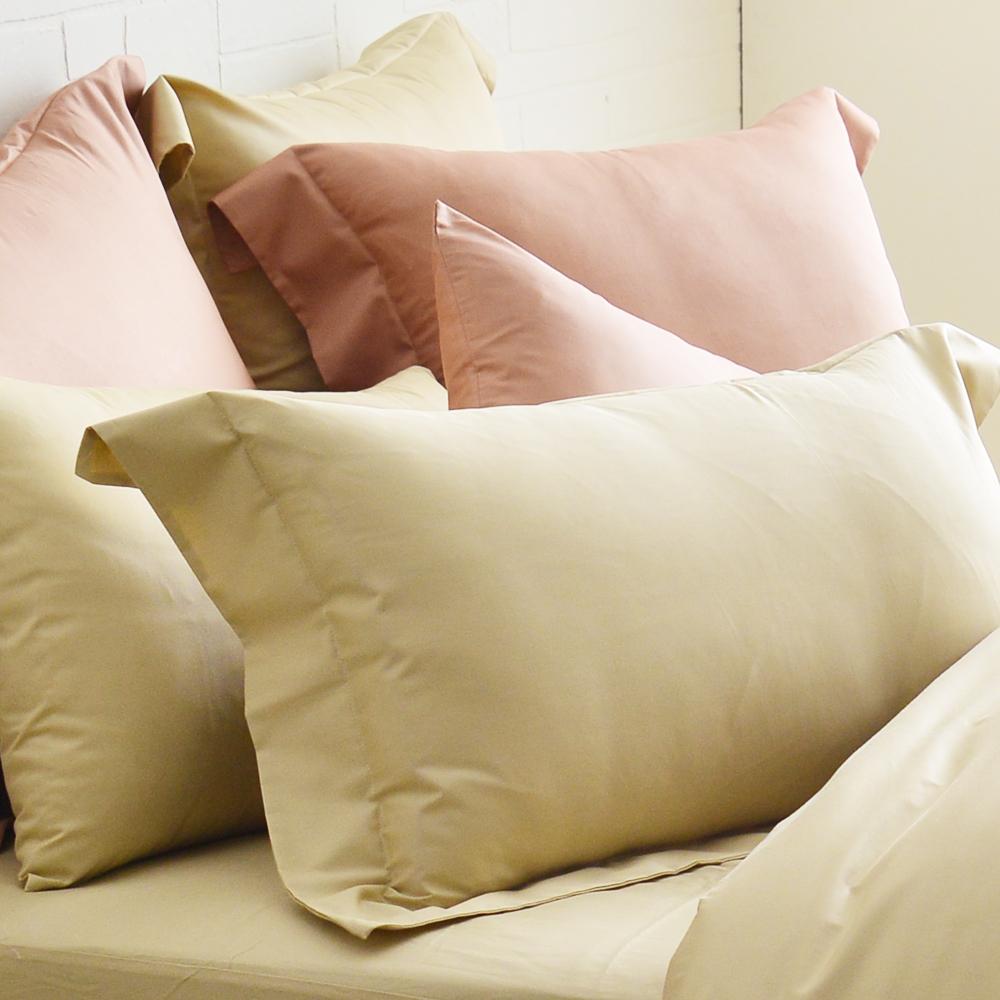 Cozy inn 簡單純色-奶茶金-200織精梳棉枕頭套-2入