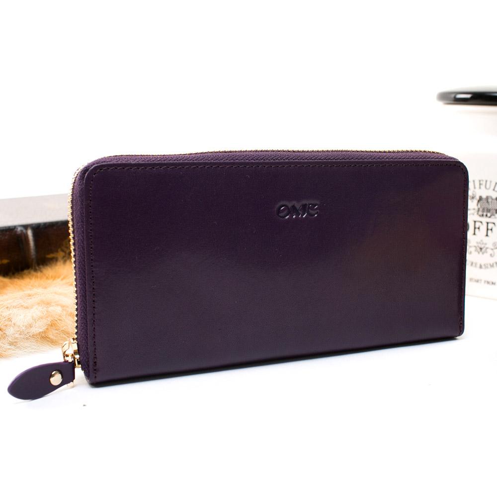 OMC - 原皮魅力真皮系列單拉鍊多層長夾-神秘紫