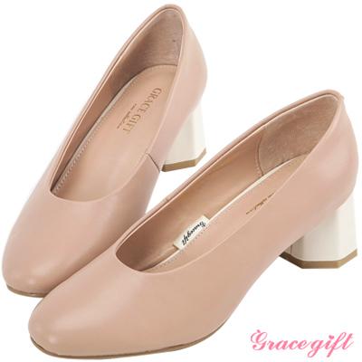 Grace gift-全真皮素面拼接造型中跟鞋 粉