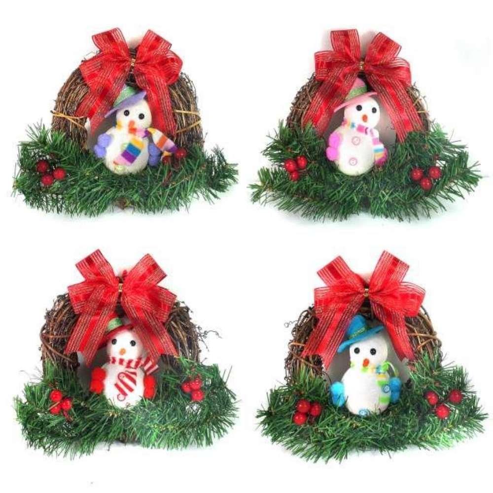 聖誕彩雪人樹藤花圈對組(一組兩入)(四選二隨機出貨)