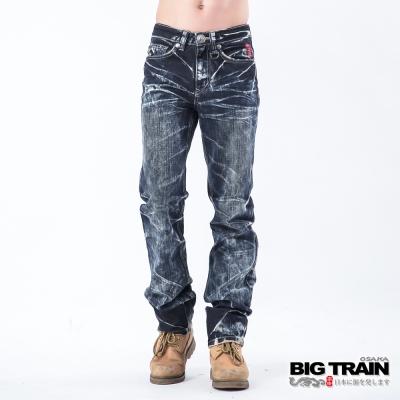 BIG TRAIN 惡童重水洗小直筒褲-深藍