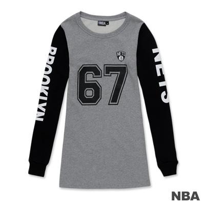 NBA-布魯克林籃網隊印花圓領數字拼接袖長版T恤-麻灰色(女)