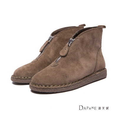 達芙妮DAPHNE 短靴-前置拉鍊麂皮平底短靴-駝