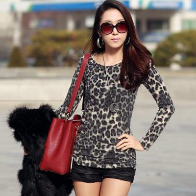 N-C21-經典豹紋保暖毛料長版上衣-共二色