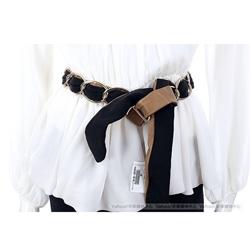MOSCHINO 黑/棕色金屬鍊拼接設計腰帶