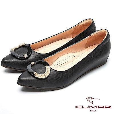 CUMAR心機美人-水鑽裝飾隱藏增高鞋-黑色