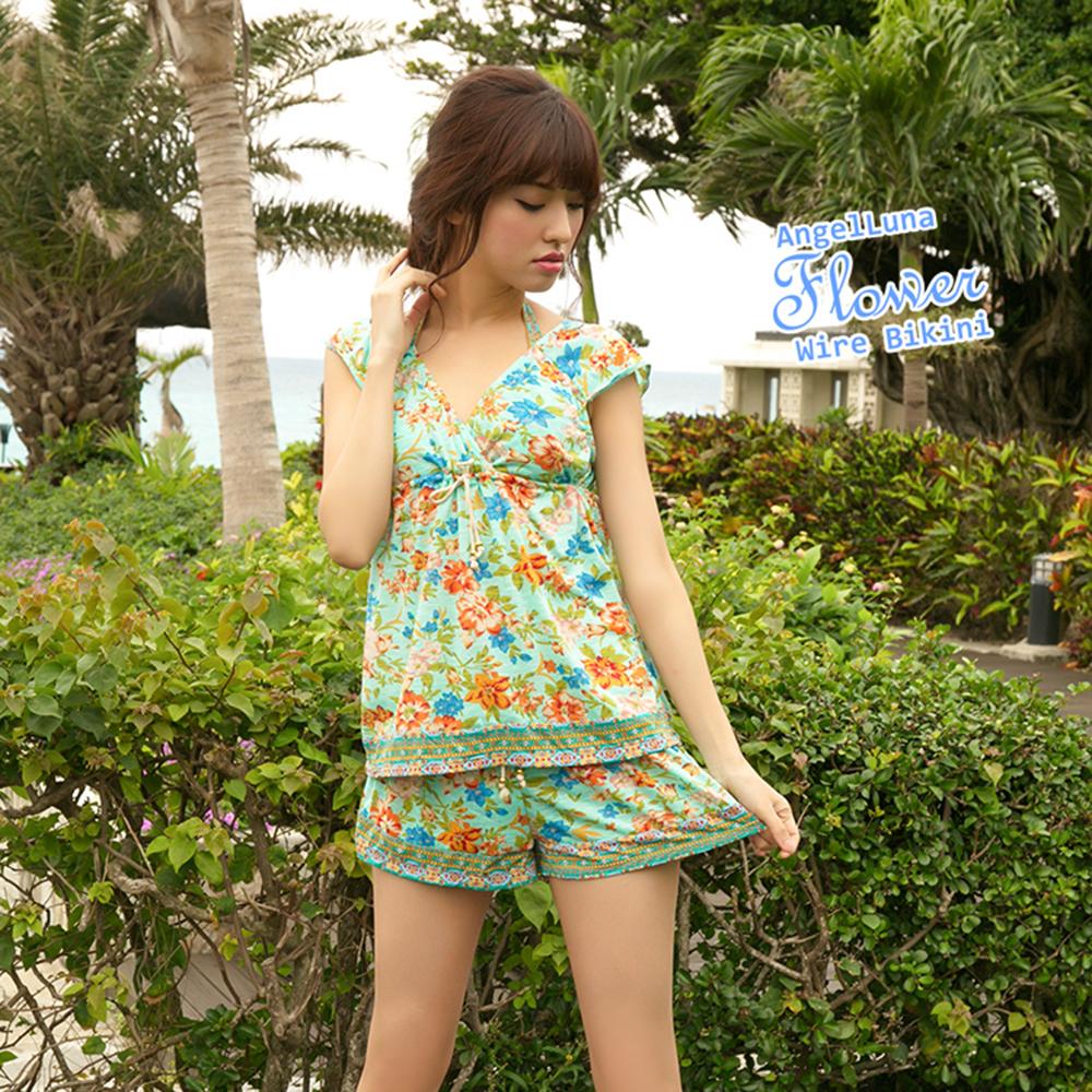 【AngelLuna日本泳裝】度假風情四件式比基尼泳衣-綠色V領